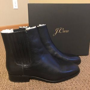 J.crew Sherpa lined Chelsea Leather Boots